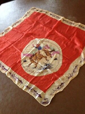 """Vintage Red Silk Western Scarf/cowboy Riding Broncing Horse""""Yippee Ride Em Cowbo"""