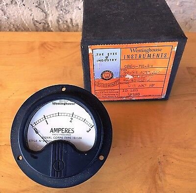NOS In Box Westinghouse 0-3 Amp RF Ammeter Signal Corps Type OT-33
