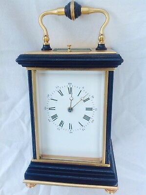 Top Quality Repeating French Carriage Clock In Ebony And Gilt