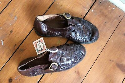 Vintage men's shoes brown woven plaited leather 7.5 indie hipster buckle