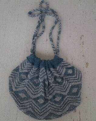 Handmade Big Eco Drawstring Hobo Bag Recycled Vintage Acrylic Knit Sweater Green