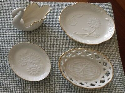 Lenox flower trinket dishes and swan lot of 4 Mint condition
