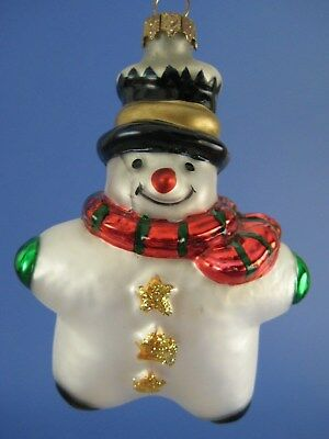 Star Shaped Snowman Glass Christmas Tree Ornament Thomas Pacconi Scarf Top Hat