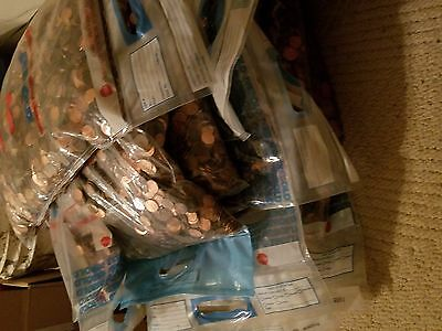 2 Never Searched Sealed Bank Bags ($100) Mixed Circulated US Pennies 60+ LBS.