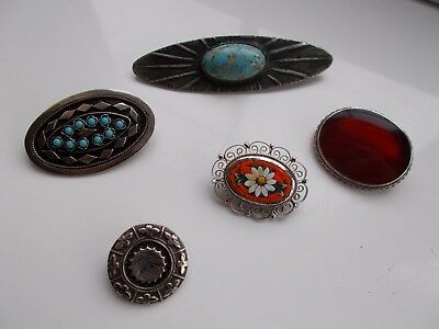 Collection of  vintage antique brooches silver turquoise micro mosaic carnelian