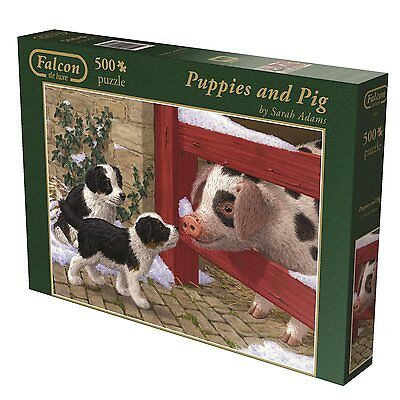 Puppies and Pig 11080 Puzzle Falcon Jumbo 500 Teile NEU OVP
