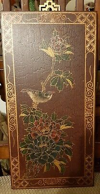 Antique Chinese hand painted wooden panel