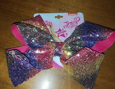New JoJo Siwa Signature Large Sequin Rainbow Hair Bow