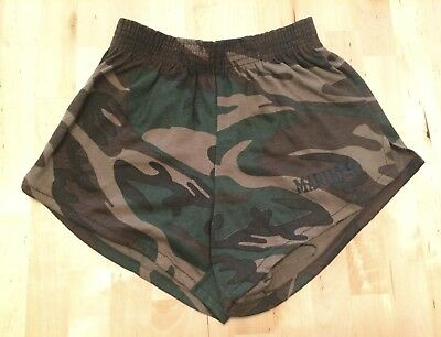 NOS! Boys Vintage 80s MARINES Camouflage Camo Gym Shorts ARTEX Large 14-16 USA