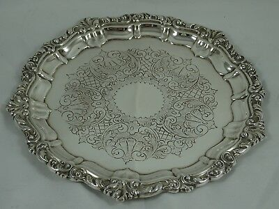MAPPIN & WEBB, solid silver SALVER, 1970, 280gm