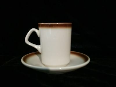 Set Of 11 Homer Laughlin Coffee Cup Mug And Saucer With Brown Rim Hlc