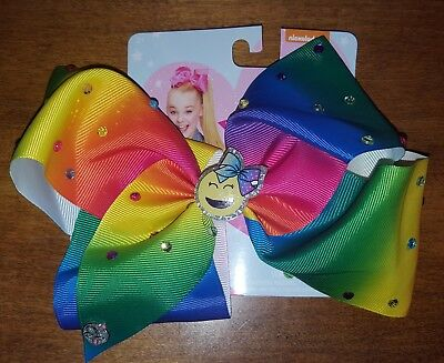 New JoJo Siwa Signature Large Hair Bow Rainbow Rhinestone Emoji Bow