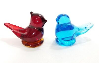 2 W Leo Ward Signed Glass Birds 1986 Blue Bird 1992 Red Bird Happy Love Figures