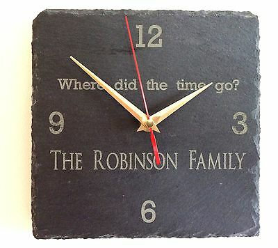 Personalised Engraved Slate Clock - Family Name & Message