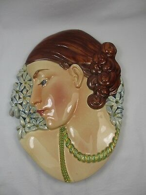 Art Deco Beswick Pottery Female Head 436 Hyacinth Wall Face Mask