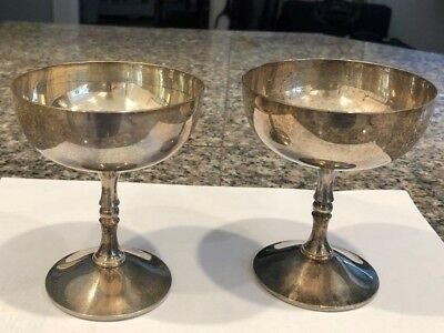 TWO Valero CHAMPAGNE GLASSES  silver plated made in Spain EPB
