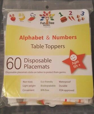 Fun Tree Brand disposable baby placemats (60 Count) (alphabet & numbers)