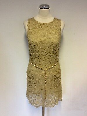 Dolce & Gabbana Camel Lace & Silk Lined With Chain Belt Dress Size 38 Uk 6/8
