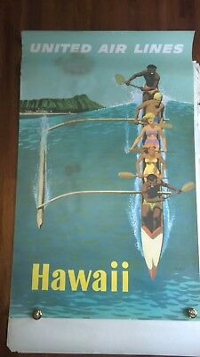 Vintage Stan Galli United Airlines Outrigger Poster