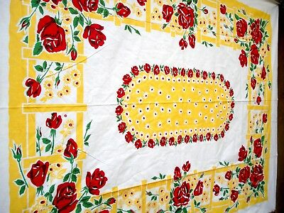 Vintage 40's CALARTEX california Red Rose & Yellow flower Tablecloth NWT