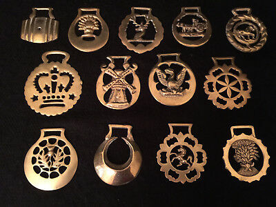 Vintage Horse Brass Medallions Lot of 15, Used, No Two Alike