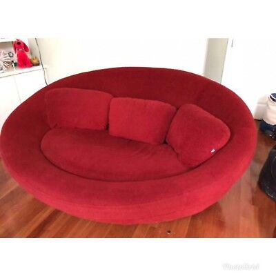 Cellini style Scandinavia - UFO oval lounge chair/sofa Red Wine Egg Mid century
