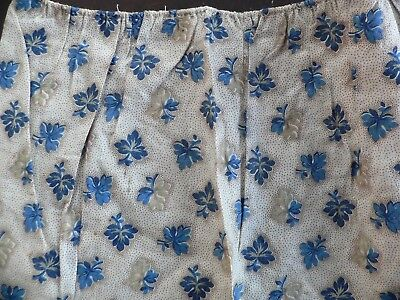 "Antique 1860s Civil War Fabric Tan Blue Leaf Print  68 x 7.25 "" for Dolls Quilts"