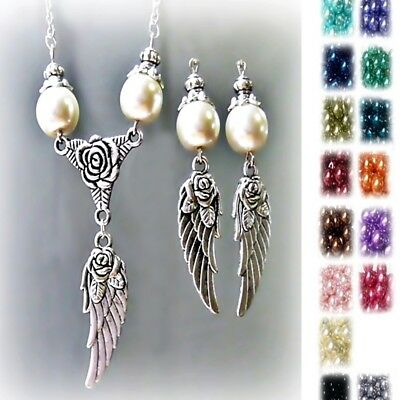 Charm Necklace Set Silver Angel Wings choose color pearl and clip on or pierced