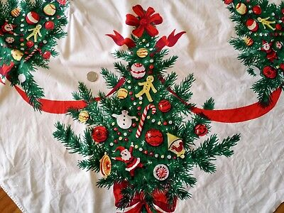 Vintage Mid-Century Christmas Linen Tablecloth Trees Ornaments Ribbons 54 x 71
