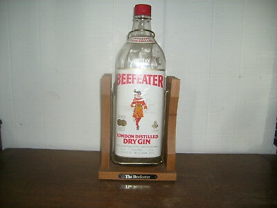 "Vintage BEEFEATER Dry Gin 19"" 1 Gallon Bottle In Promotional Swing Stand Cradle"