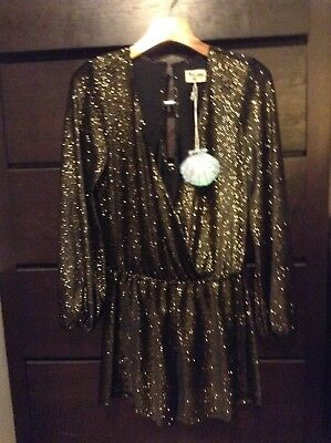 Show Me Your Mumu Black & Gold Striped Playsuit Or Romper Brand New With Tags