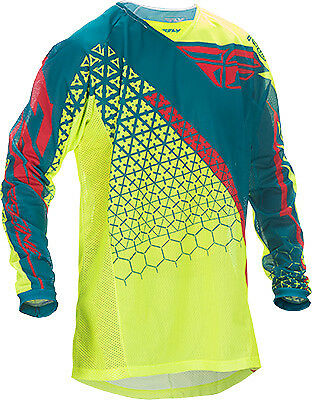 Fly Racing Kinetic Mesh Trifecta Jersey Hi Vis/Teal Youth XL