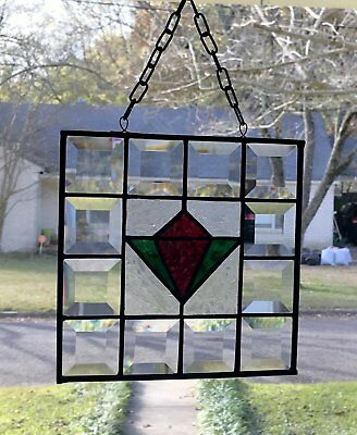 Stained Glass Window Suncatcher Victorian Tulip with Bevels - 8x8 square