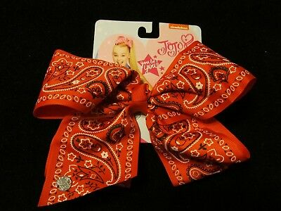 RARE Jojo Siwa Signature Large red bandana print Bow- GREAT FOR STOCKINGS NWT'S