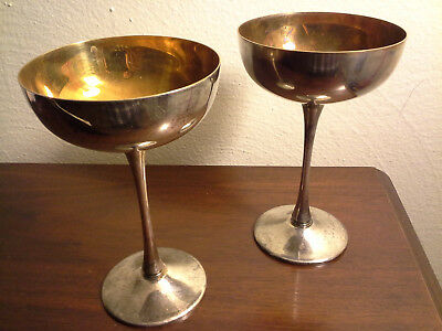 """Eales 1779 Silverplate Italy Silverplate Goblets 6"""" Coupe/Vintage - pair of 2"""