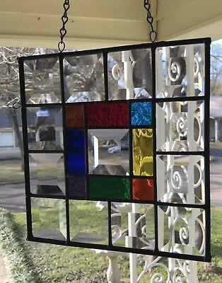 Stained Glass Window Suncatcher with Crystal Clear Bevels - 8x8 square