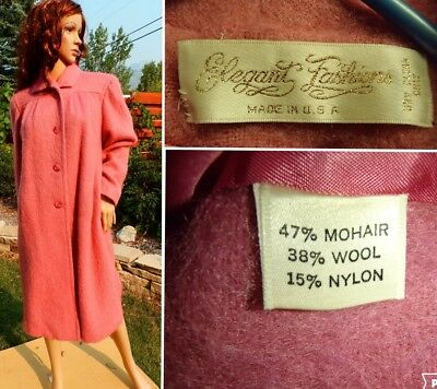 VINTAGE 60's womens PINK MOHAIR SWING COAT long trench car fully lined medium