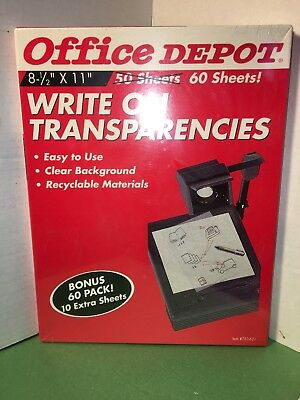 Office Depot #753-621 Write On Transparencies Transparency Film QTY 60 -- NOS