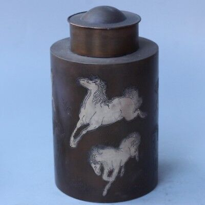 Chinese Exquisite Handmade Horse pattern copper Tea caddy