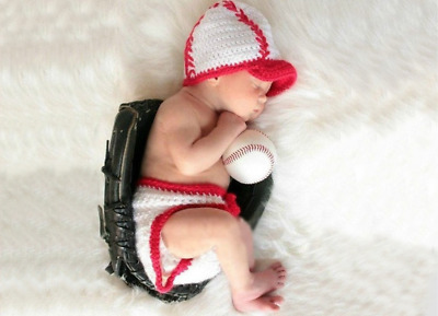 Newborn Baby Infant Baseball Knitted Crochet Costume Photo Photography Prop