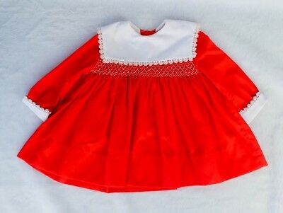 Vintage Polly Flinders 2T Long Sleeve Dress - Red Hand Smocked - Excellent!!