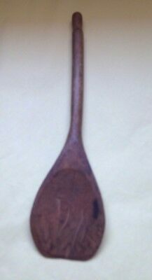 """Antique Primitive Hand Carved Wooden Spoon Paddle 8"""" Long"""