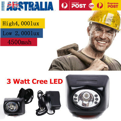 Miners Cordless LED Helmet Light Safety Cap Lamp Torch with Display&3W CREE LED