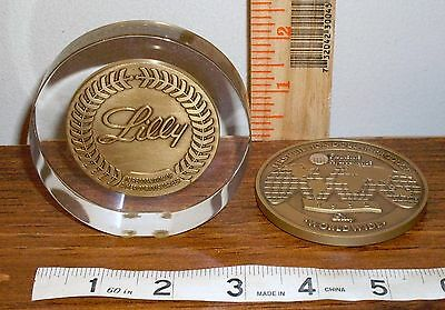 2 Advertising Pharmaceutical Paperweights Eli Lilly - 1 Stands - 1 Lays Flat