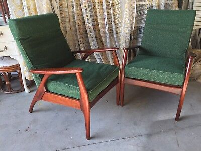 Pair Of Mid Century Arm Chairs Fler, Parker, Eames Era Danish VGC - Buy Now.