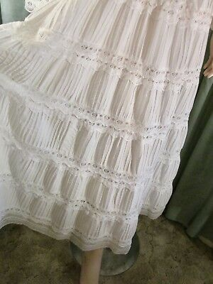 Vintage Mexican White Wedding Dress Gown Lace Pin-tuck
