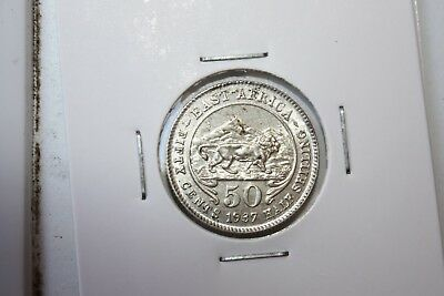 British East Africa 1937 50 cents silver coin