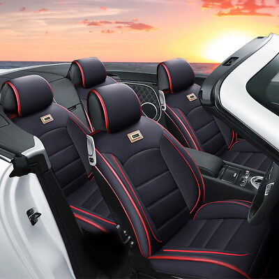 5-Seat Car Auto PU Leather Seat Covers Front+Rear Set w/ Free Pillows Adjustable