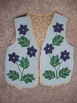 Paiute Beaded Leather Adult Vest Cloth Lined And Cloth Backing Native American