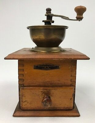 Antique Wood and Steel Mill Coffee Grinder
